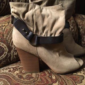Cute suede open-toed boot heels.